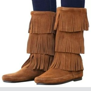 Minnetonka 1632 Suede Tall 3 Layer Fringe Boots